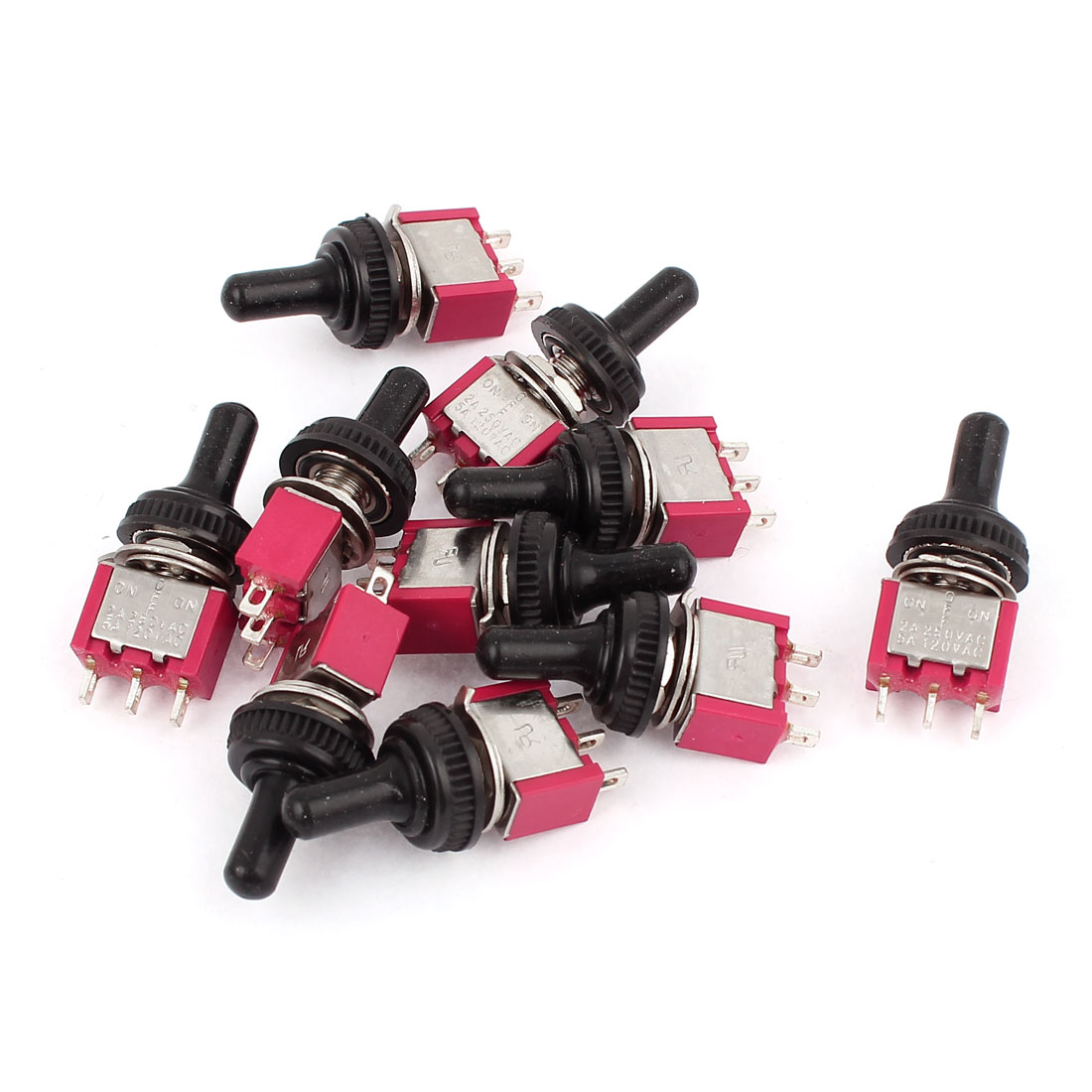 10Pcs AC 120V 5A / 250V 2A 3 Pin SPDT On/Off/On 3 Position Waterproof Mini Toggle Switch