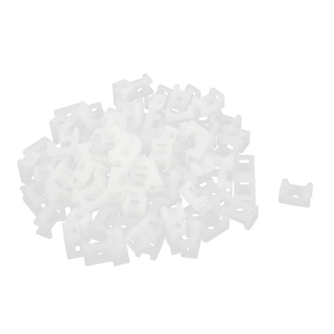 100Pcs 9mm Plastic Saddle Type Cable Tie Mount Wire Buddle White