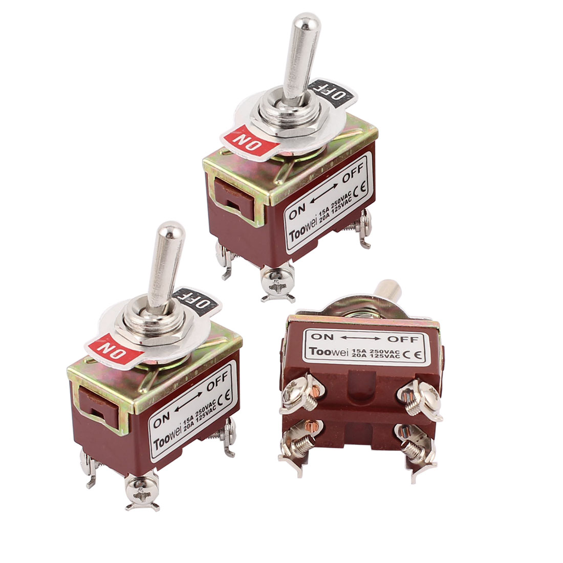 3Pcs AC 250V 15A / 125V 20A Latching ON-OFF DPST 2 Positions 4 Screw Terminals Toggle Switch