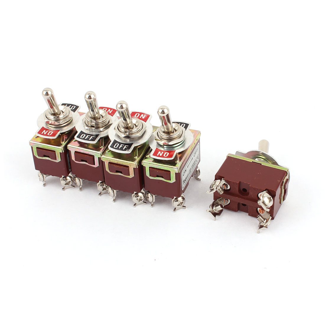 5Pcs AC 250V 15A / 125V 20A Latching DPST 2 Positions Toggle Switch