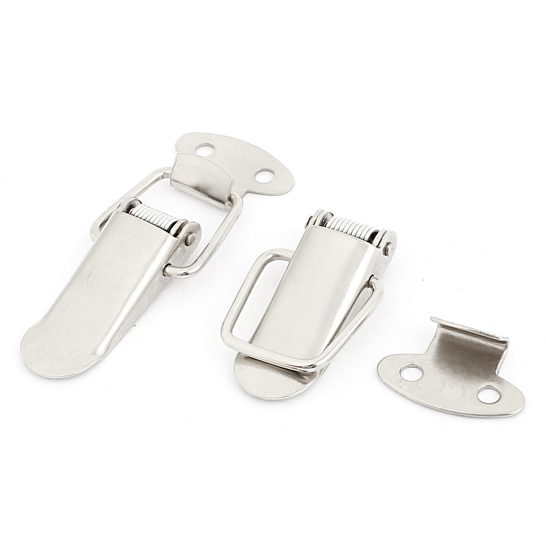 Bags Boxes Cases Stainless Steel Spring Draw Toggle Latch Catch Silver Tone 2Pcs