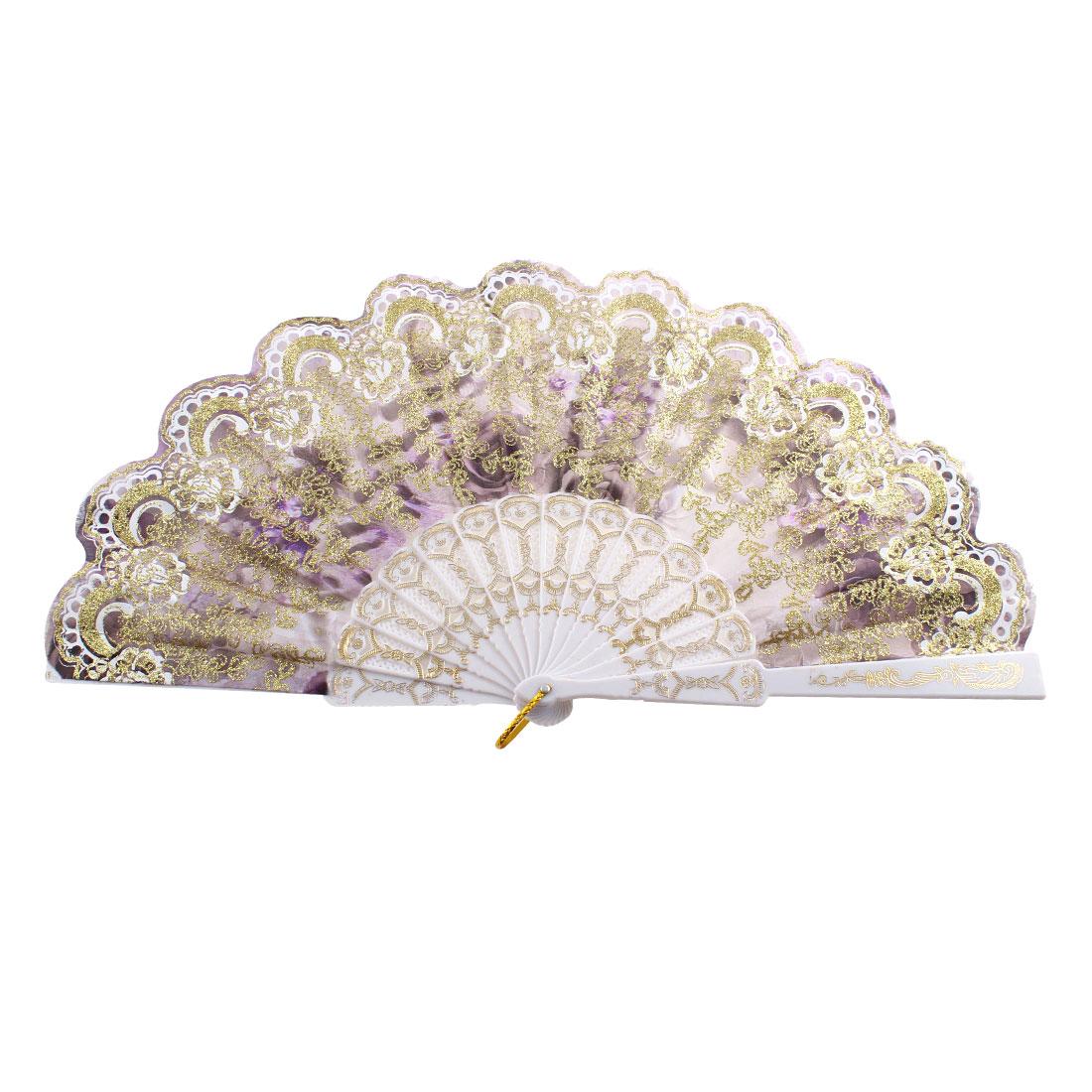 Gold Tone Glittery Powder Accent Leaf Printed Folded Dancing Hand Fan