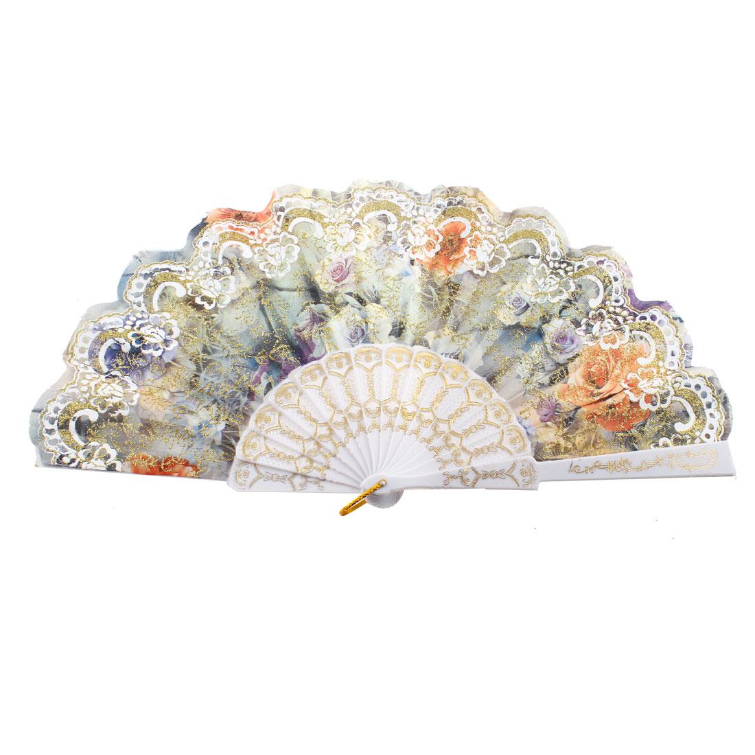 Plastic Rib Flower Printed Folded Summer Dancing Hand Fan Multicolor