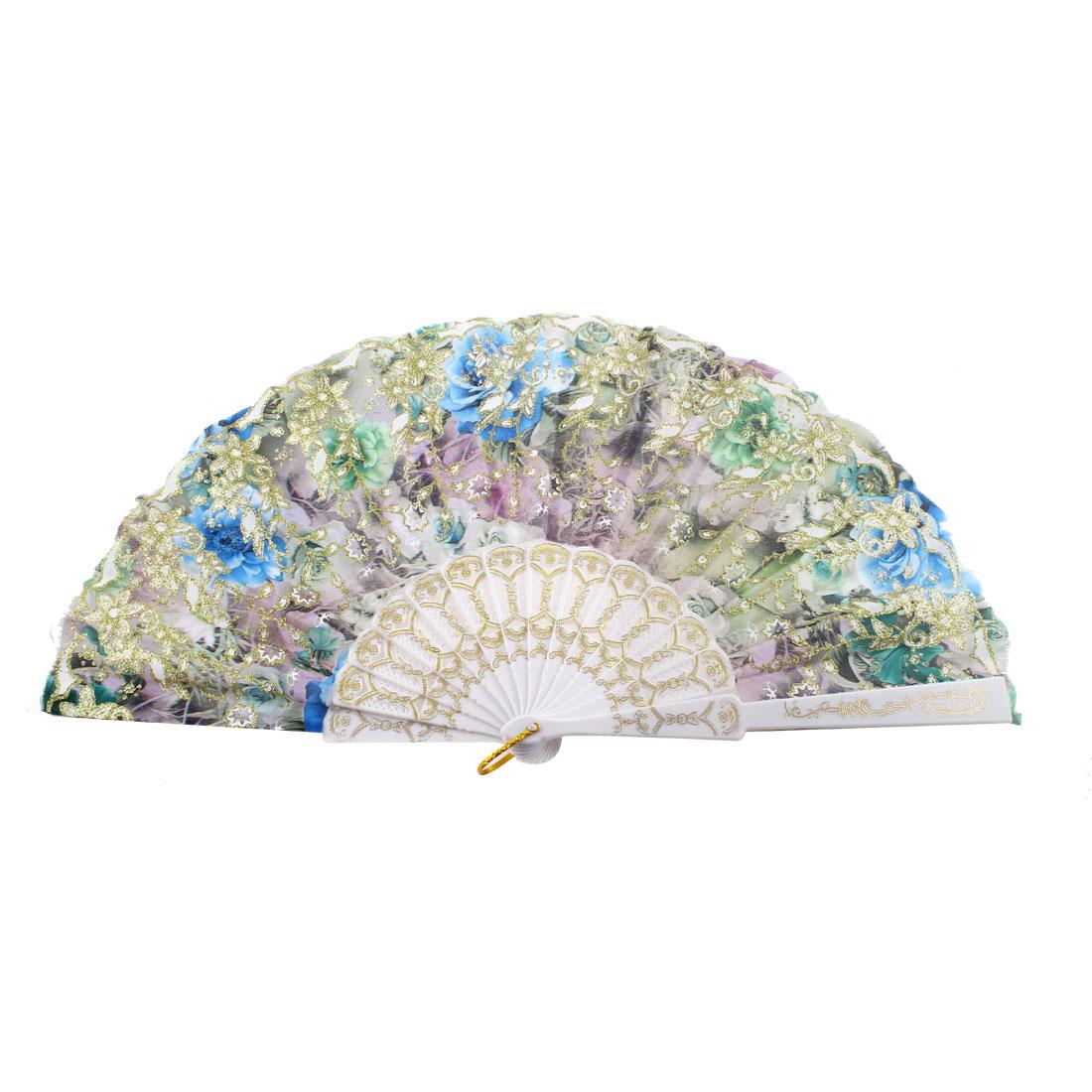 Gold Tone Glittery Powder Decor Floral Pattern Folding Dancing Hand Fan