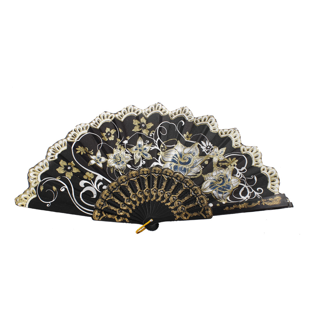 Hollow Out Frame Glittery Powder Accent Floral Print Summer Hand Fan Black