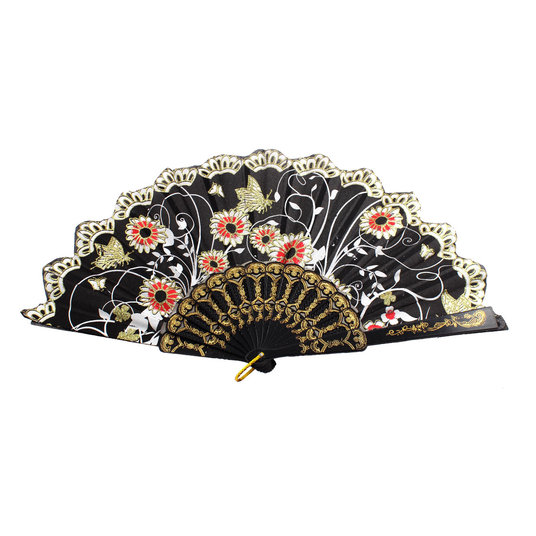 D Ring Accent Hollow Out Frame Butterfly Print Handheld Hand Fan Black
