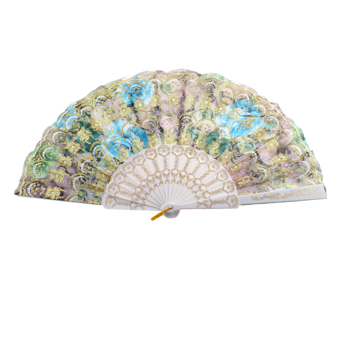 Hanging D Ring Glittery Powder Accent Floral Print Dancing Hand Fan Gold Tone