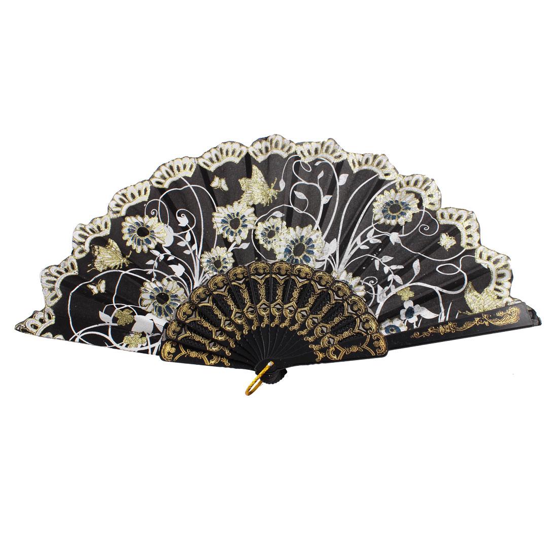 Ladies Women Glittery Powder Accent Butterflies Printed Summer Hand Fan Black