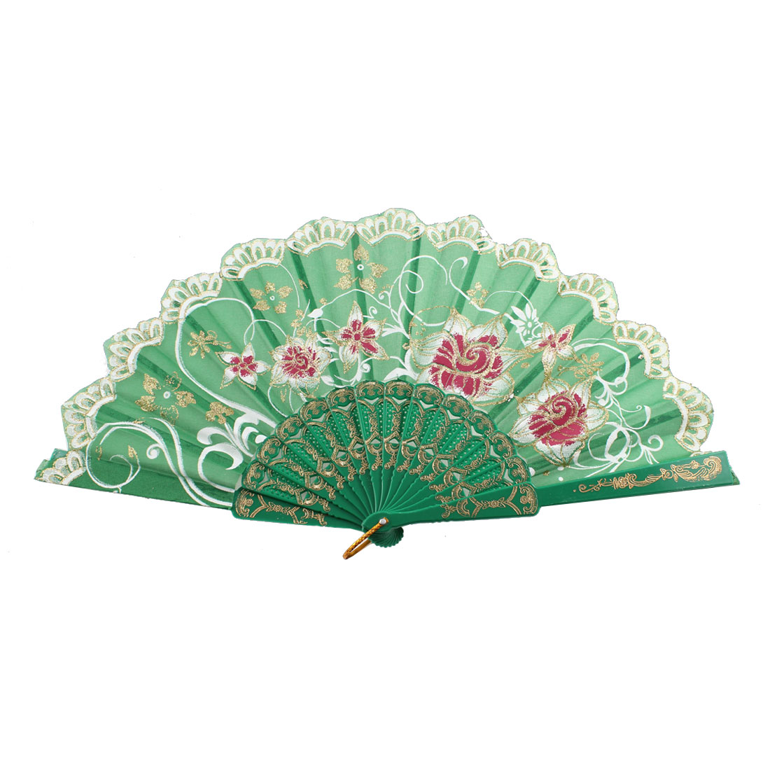 Glittery Powder Detailing Blooming Floral Printed Dance Handheld Hand Fan Green