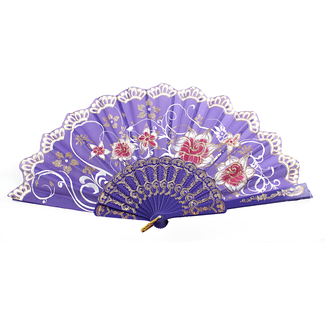 Chinese Style D Ring Detail Ribs Floral Pattern Folding Hand Fan Purple