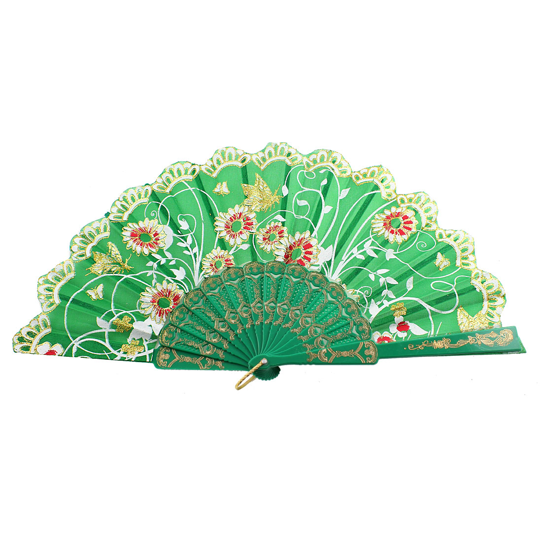 Hollow Out Frame Glittery Powder Accent Butterfly Print Handheld Hand Fan Green