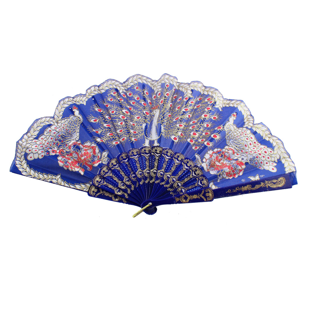 Chinese Style D Ring Detail Ribs Peacock Pattern Folded Hand Fan Blue