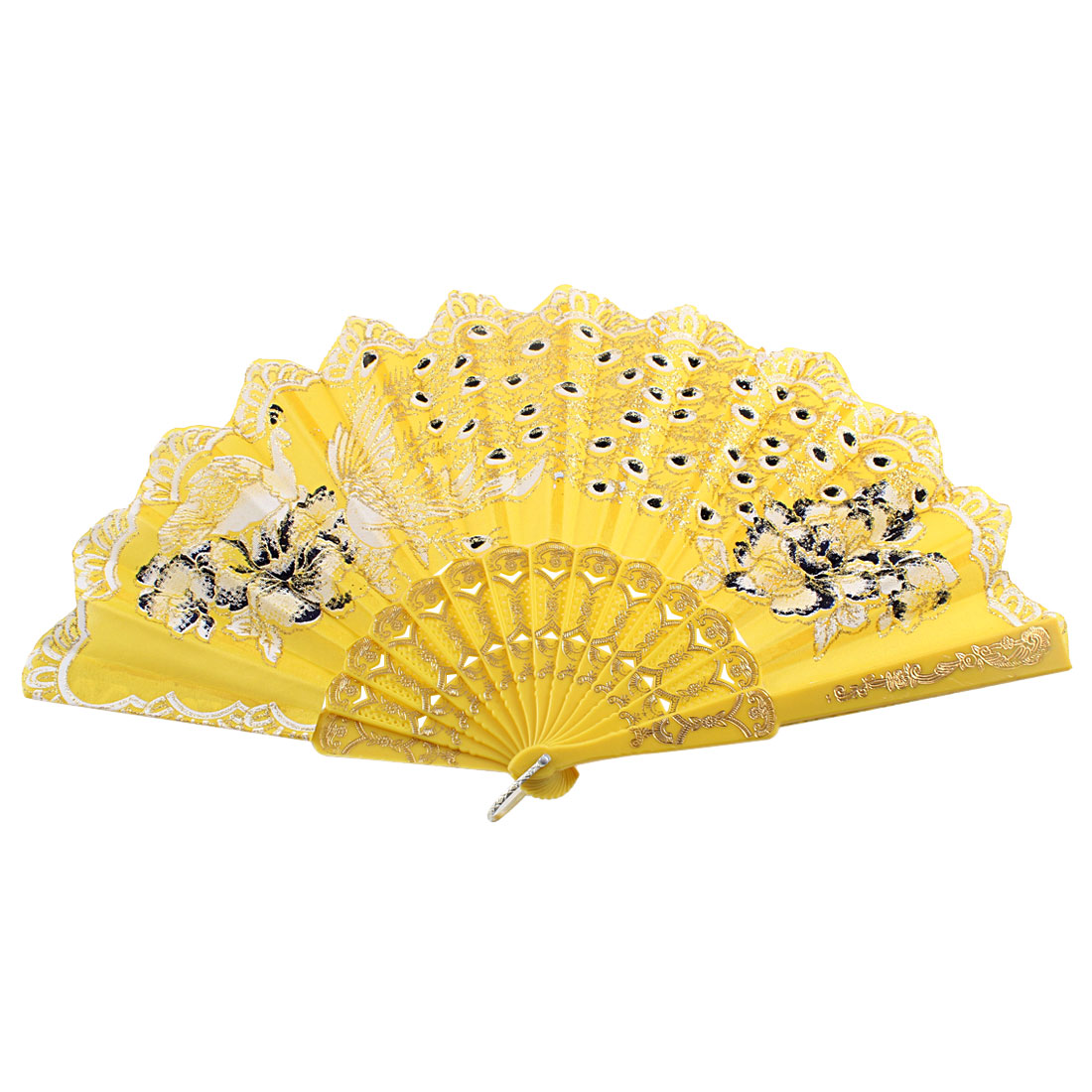 Glittery Powder Decor Peacock Pattern Floral Rim Handheld Hand Fan Yellow