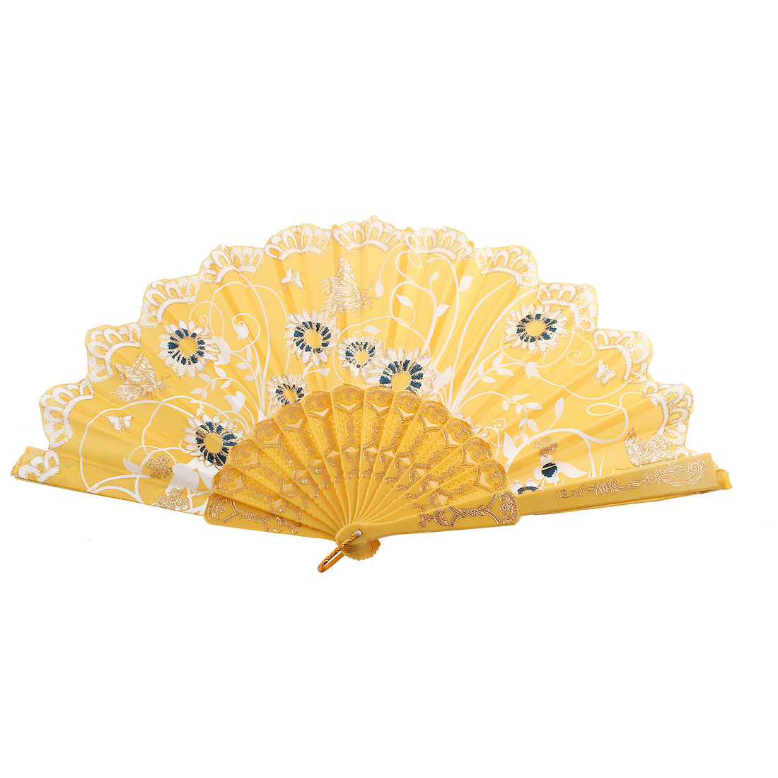 Hollow Out Frame Sunflower Butterfly Pattern Floral Rim Hand Fan Yellow