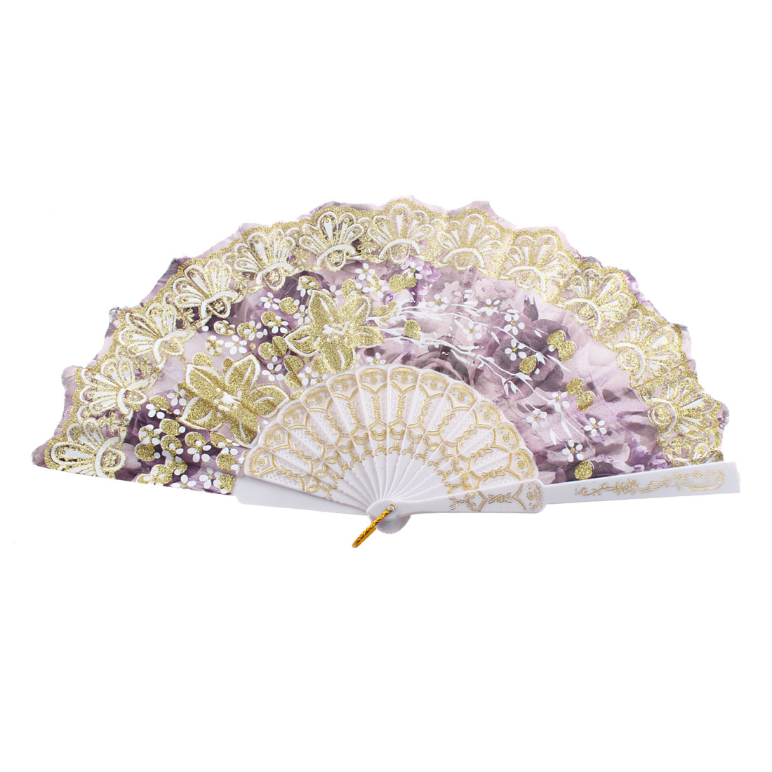 Hollow Out Frame Glittery Powder Decor Floral Pattern Folded Hand Fan Gold Tone