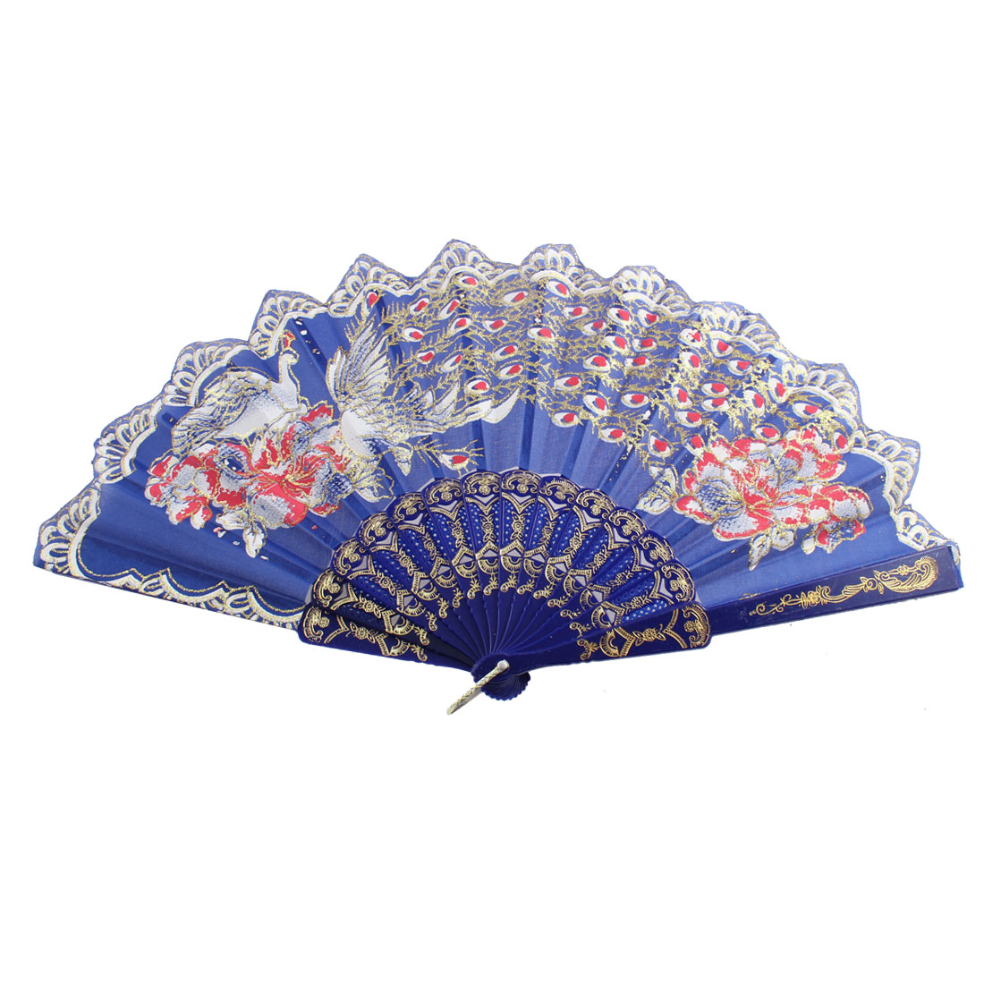 Chinese Style D Ring Decor Frame Peacock Pattern Floral Rim Hand Fan Blue