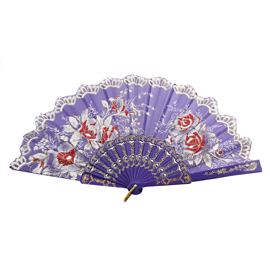 D Ring Adorn Ribs Flower Leaf Pattern Dancing Handhelp Hand Fan Purple
