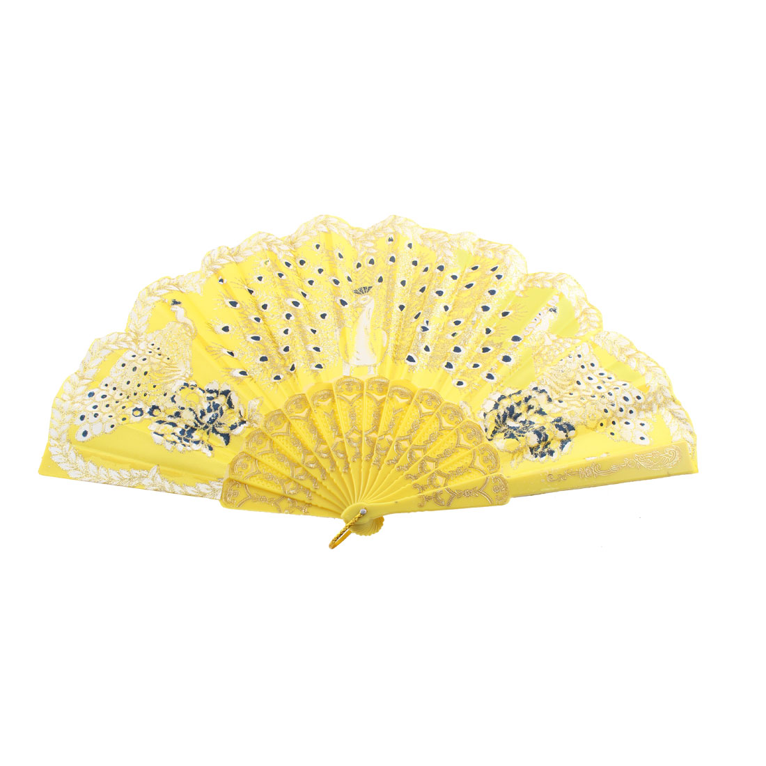 Plastic Hollow Out Frame 3 Peacock Pattern Floral Rim Hand Fan Yellow