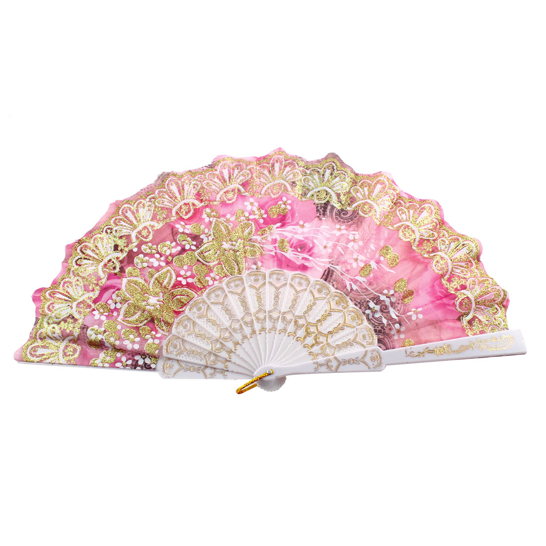 Hollow Out Rib Chinese Style Glittery Powder Adorn Rose Print Hand Fan Pink