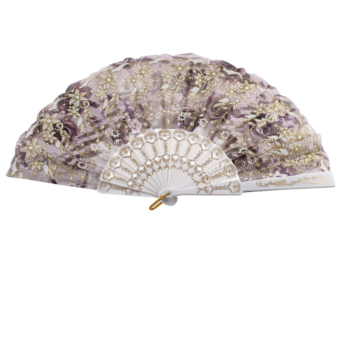 Hollow Out Rib Glittery Powder Accent Floral Printed Hand Fan Dark Purple