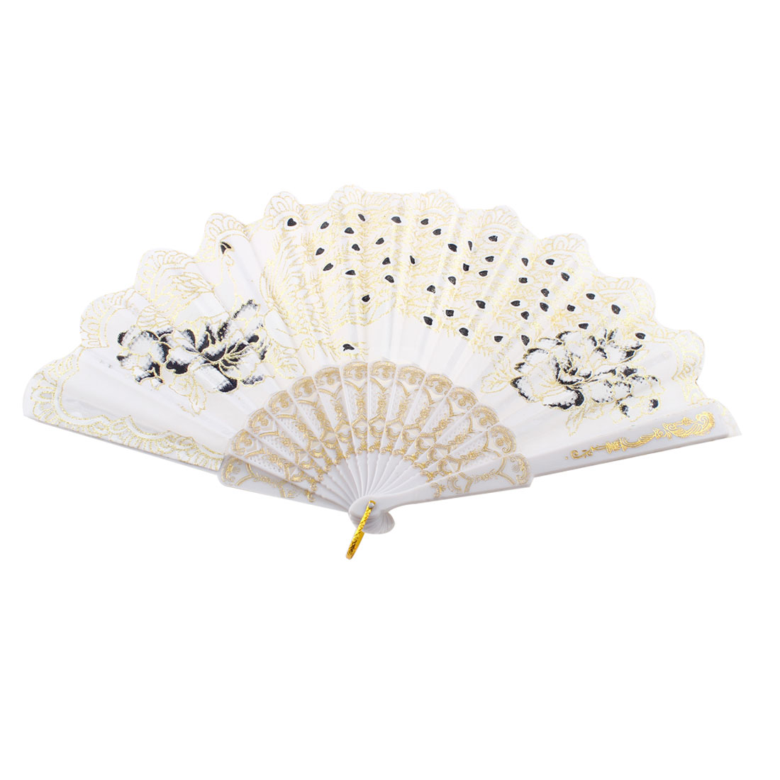 Glittery Powder Accent Peony Peacock Print Foldable Summer Hand Fan White