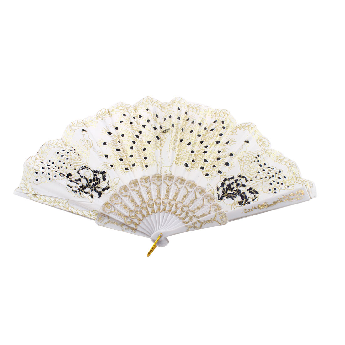 Chinese Style Glittery Powder Detail Peacock Print Folded Hand Fan White