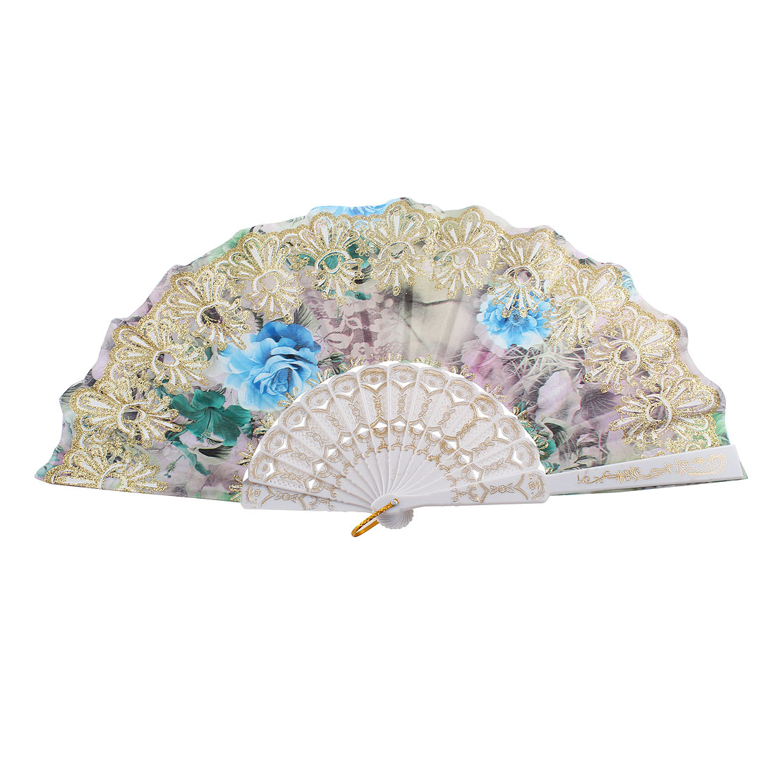 Gold Tone Glittery Powder Accent Chinese Style Rose Print Foldable Hand Fan