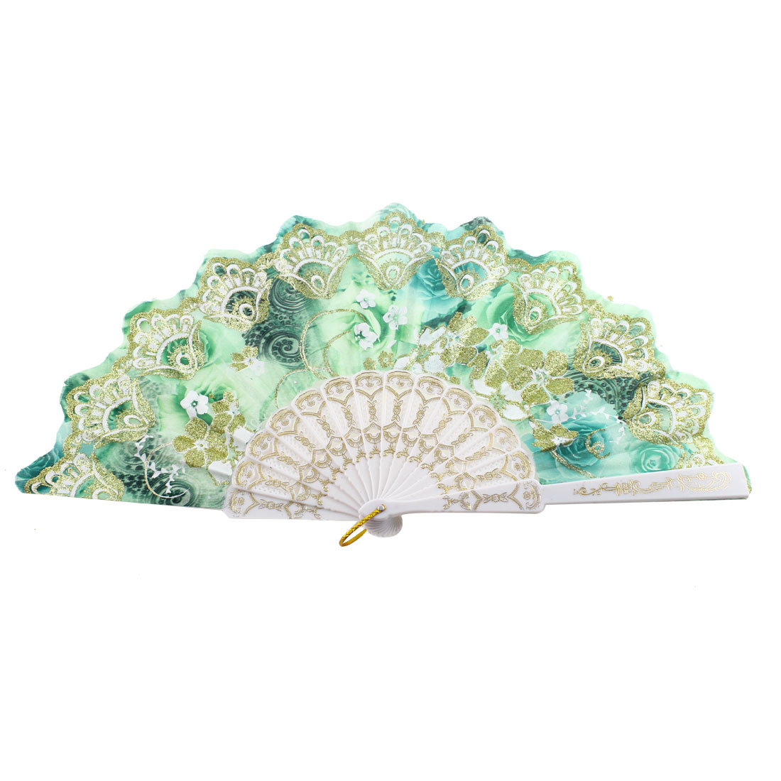 Glittery Powder Decoration Chinese Style Rose Print Foldable Hand Fan Green