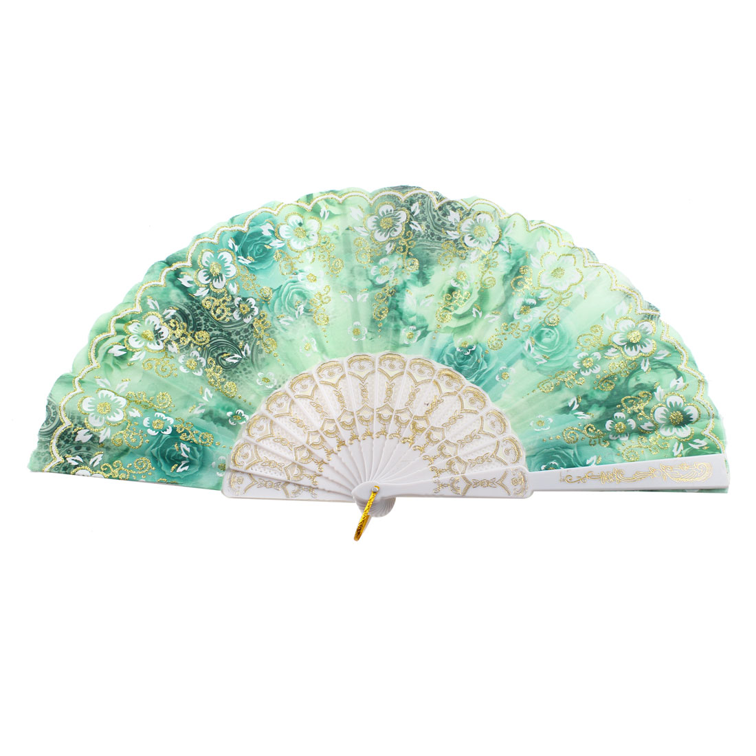 Glittery Powder Decor Flower Printed Folded Dancing Hand Fan Green