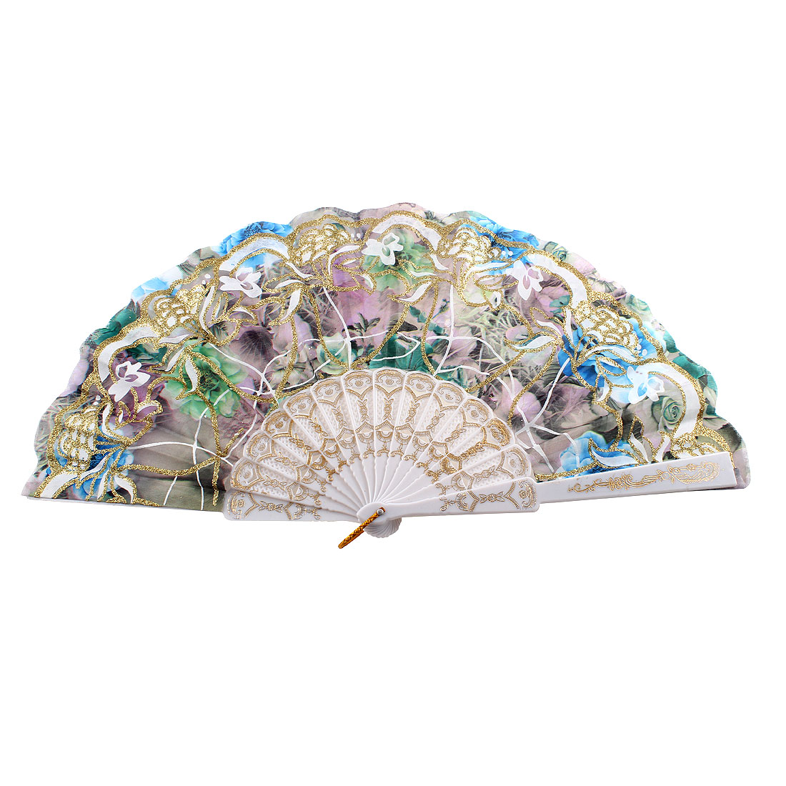 Glittery Powder Accent Chinese Style Flower Print Foldable Hand Fan Multicolor