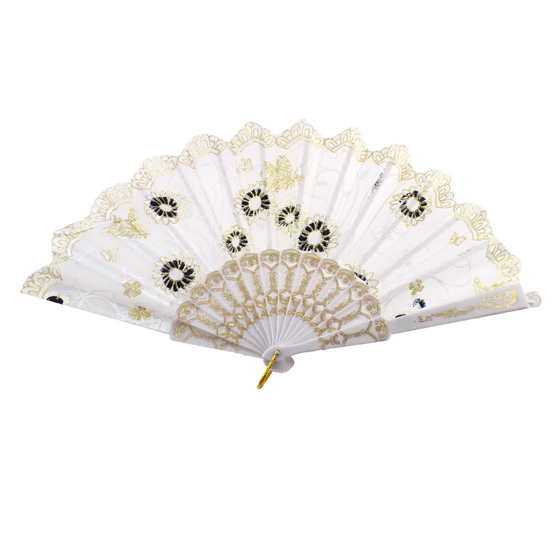 Glittery Powder Detail Chinese Style Flower Print Folding Hand Fan White