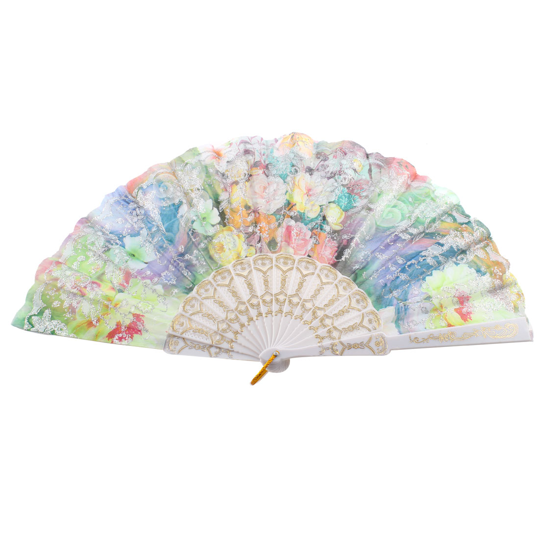 Silver Tone Glittery Powder Decor Chinese Style Floral Print Folding Hand Fan