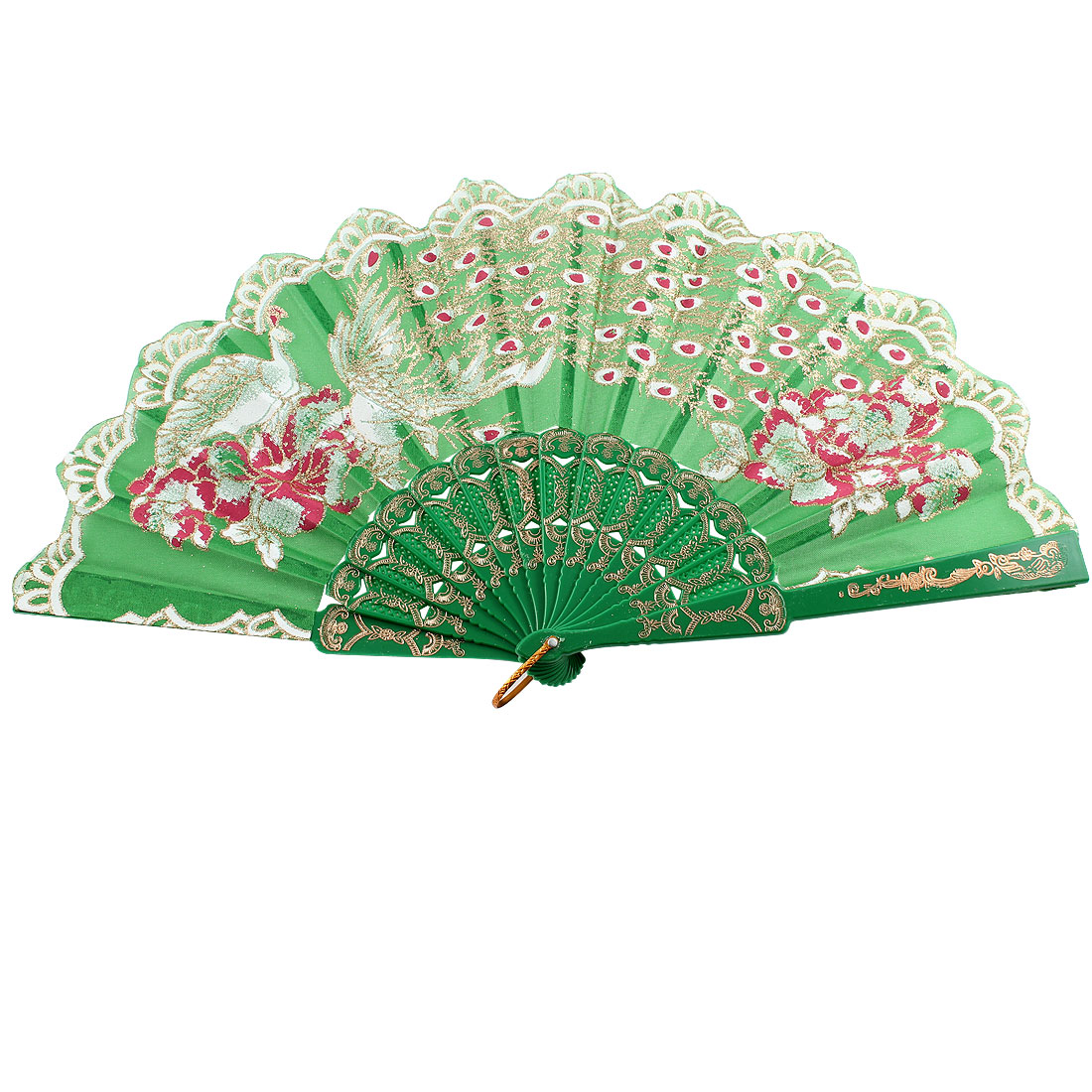 Glittery Powder Accent Peacock Print Flower Rim Handheld Hand Fan Green