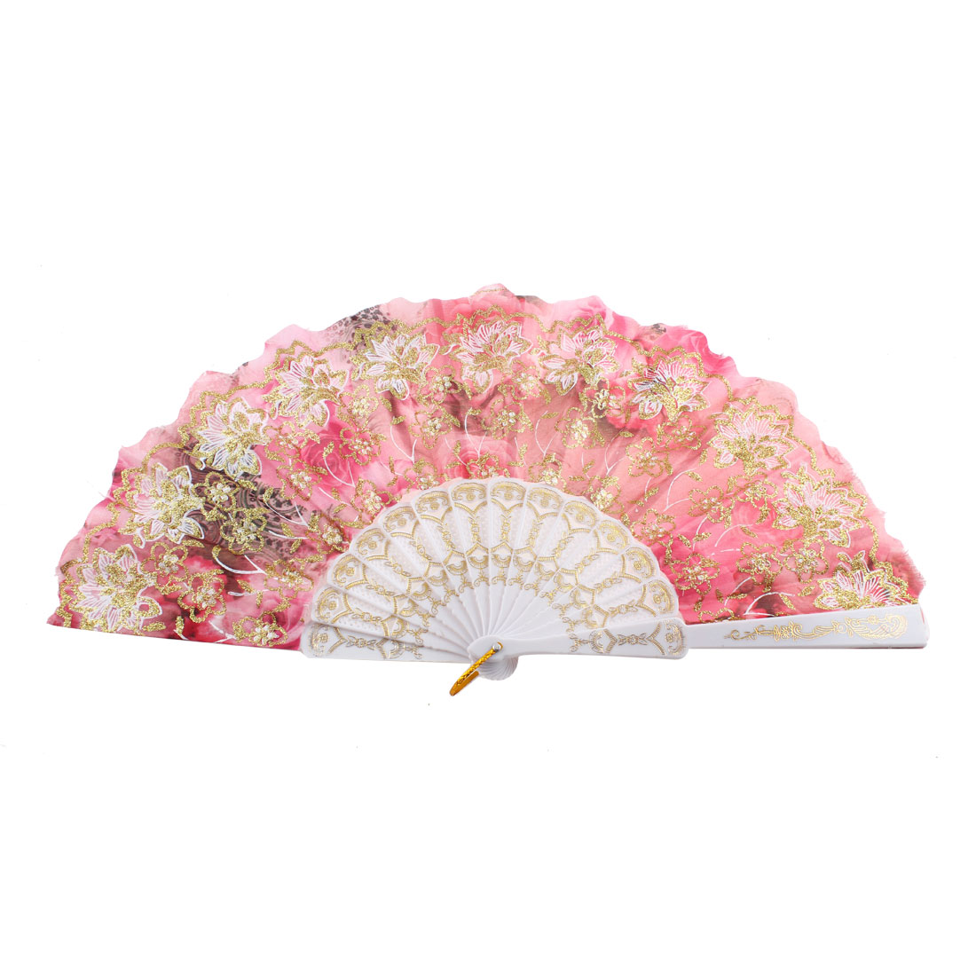 Hollow Out Ribs Glittery Powder Decor Flower Pattern Foldable Hand Fan Pink
