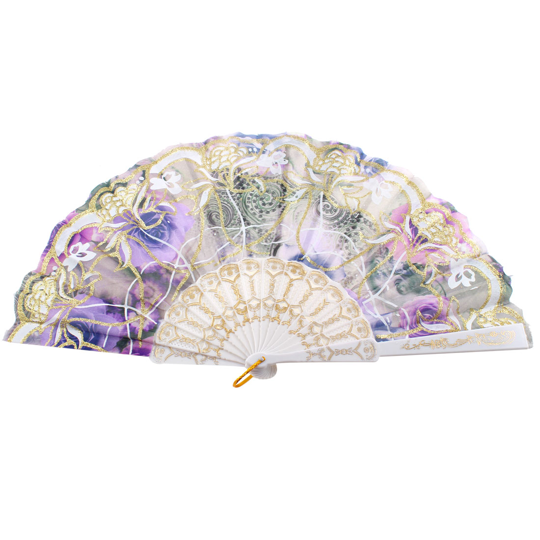 Women Glittery Powder Adorn Rose Pattern Wedding Gift Folded Hand Fan Purple