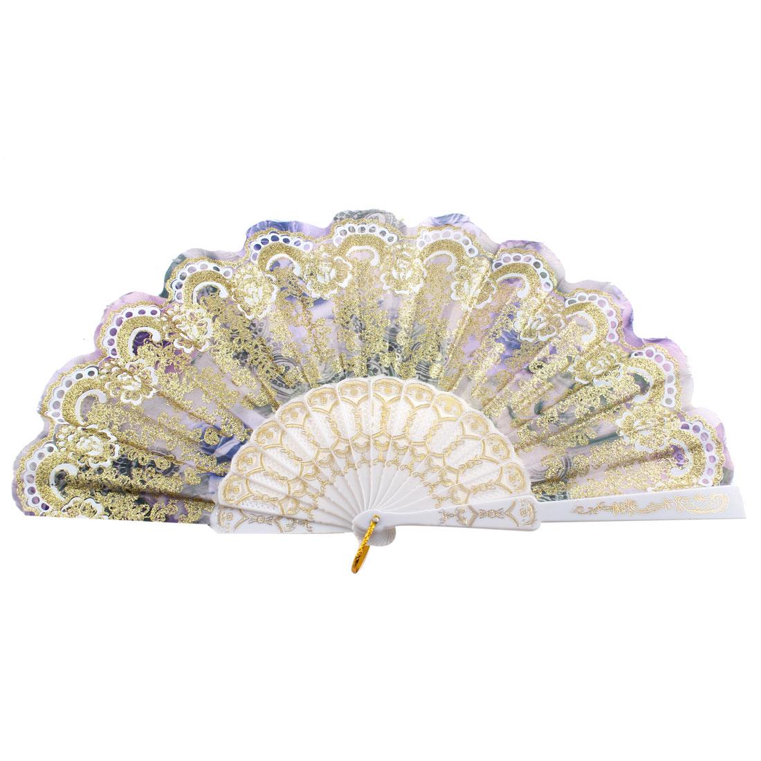 Women Plastic Ribs Glittery Powder Adorn Wedding Gift Folded Hand Fan Gold Tone