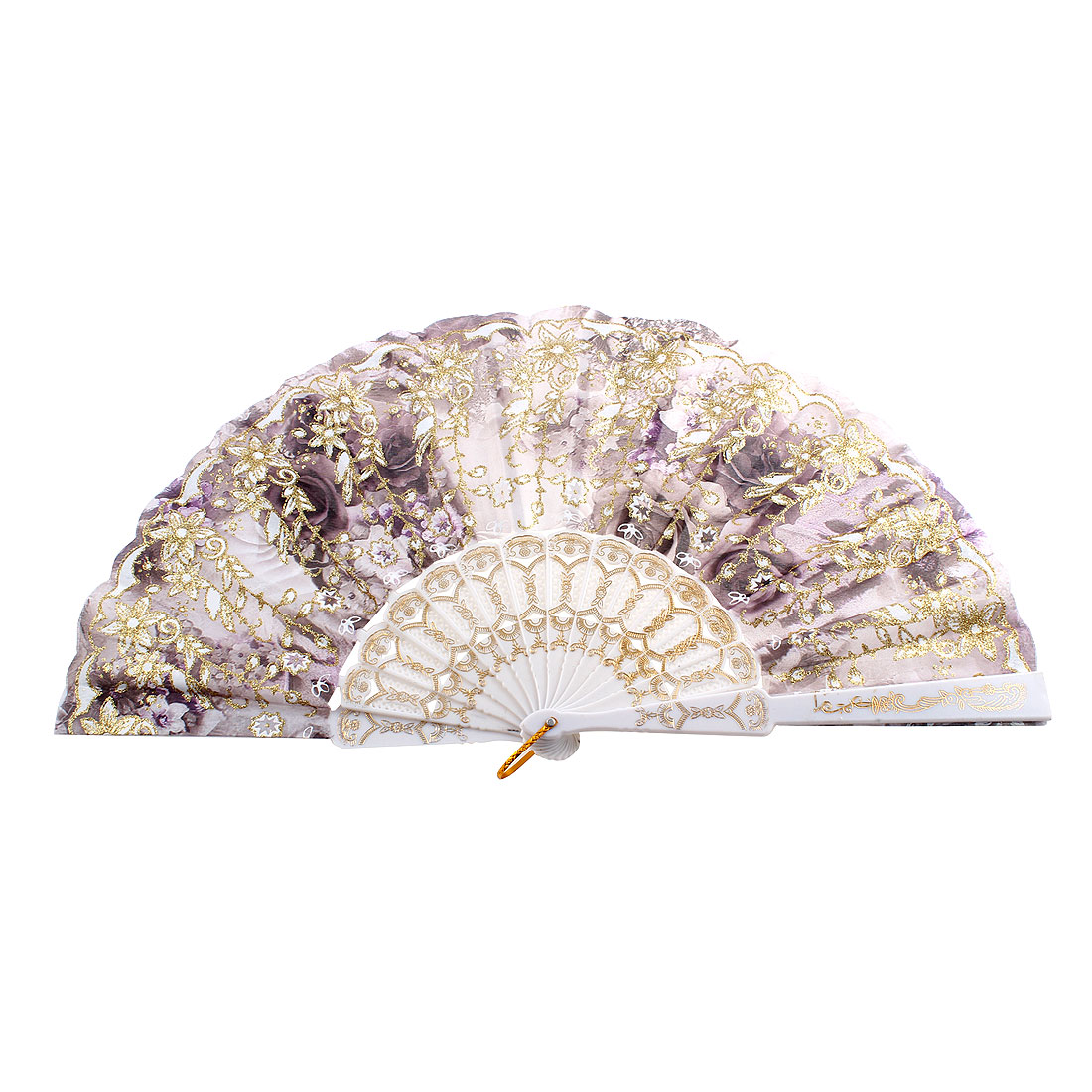 Lady Hanging Ring Glittery Powder Adorn Flower Print Folding Hand Fan Dark Purple