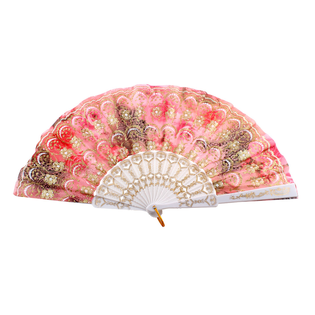 Lady Glittery Powder Accent Flower Print Decorative Folding Hand Fan Pink