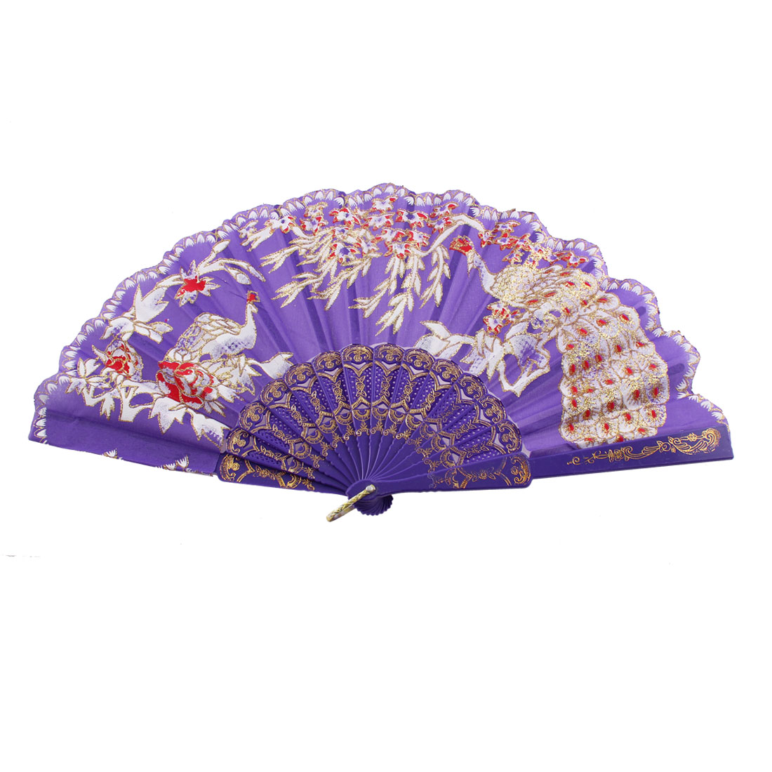 Hollow Out D Ring Decor Frame Tree Peacock Print Folded Hand Fan Purple