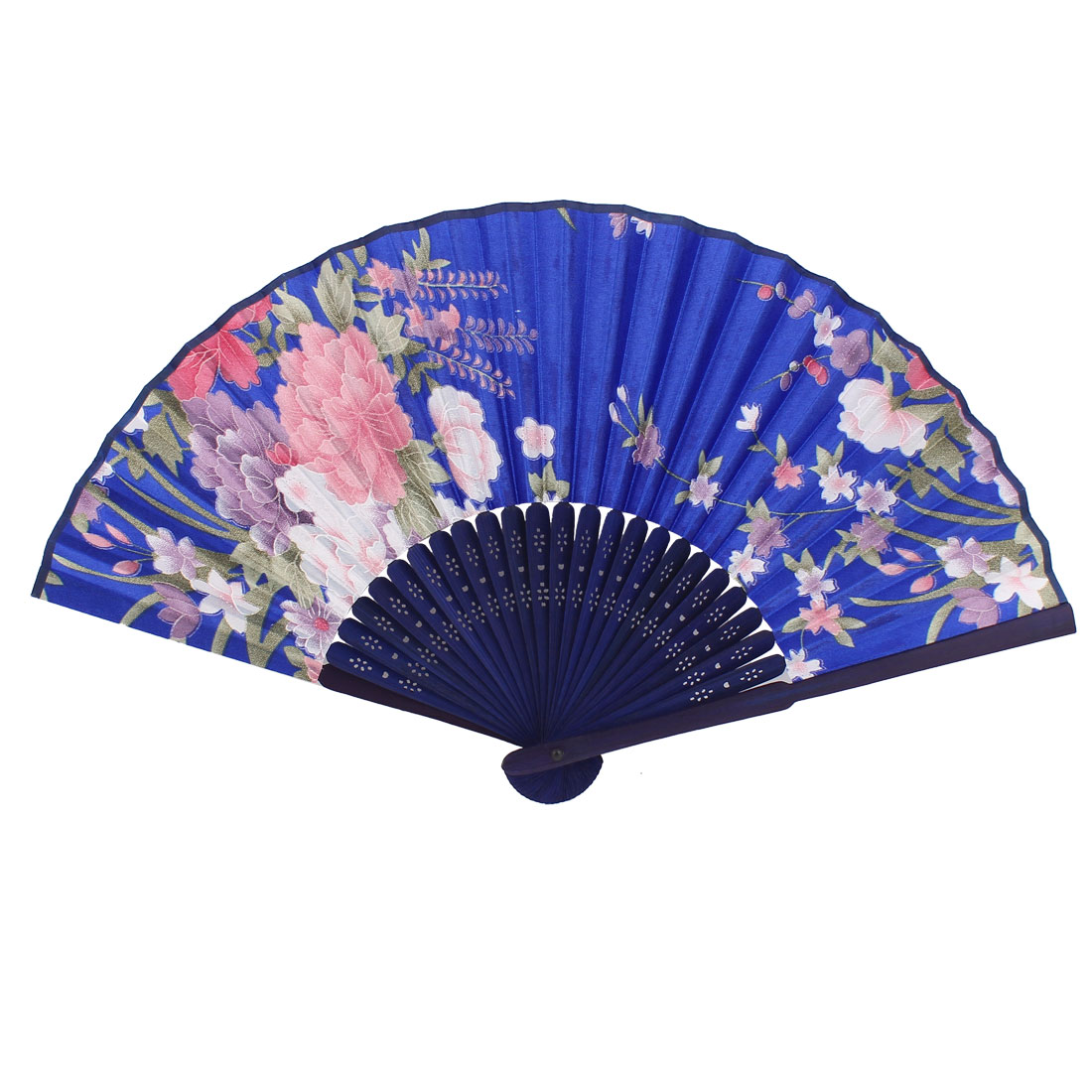 Home Bamboo Hollow Out Handle Purple Pink Flower Print Foldable Hand Fan