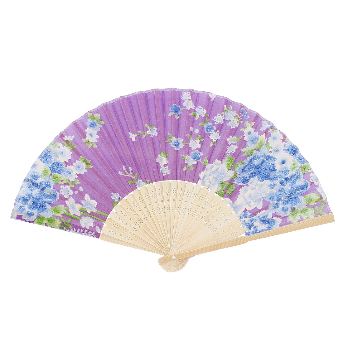 Lady Hollow Out Handle Floral Printed Folding Dance Hand Fan Purple Green