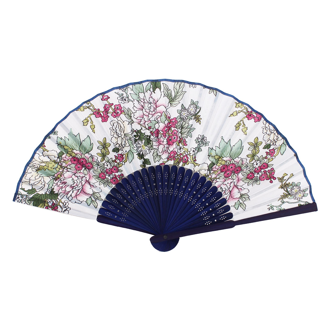 Ladies Hollow Out Frame Blooming Flower Print Folded Hand Fan White Fushcia