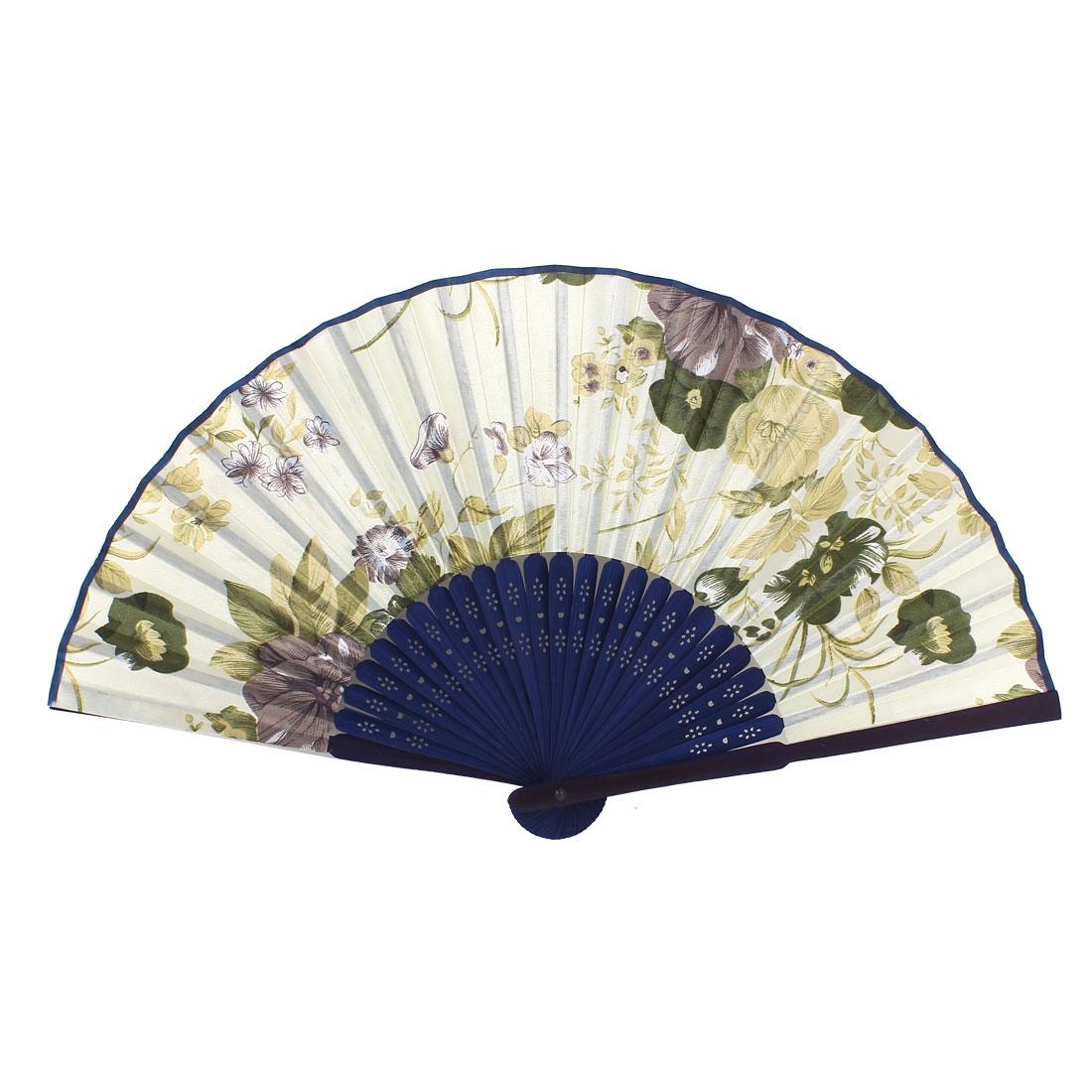 Houseware Bamboo Hollow Out Ribs Flower Print Summer Hand Fan White