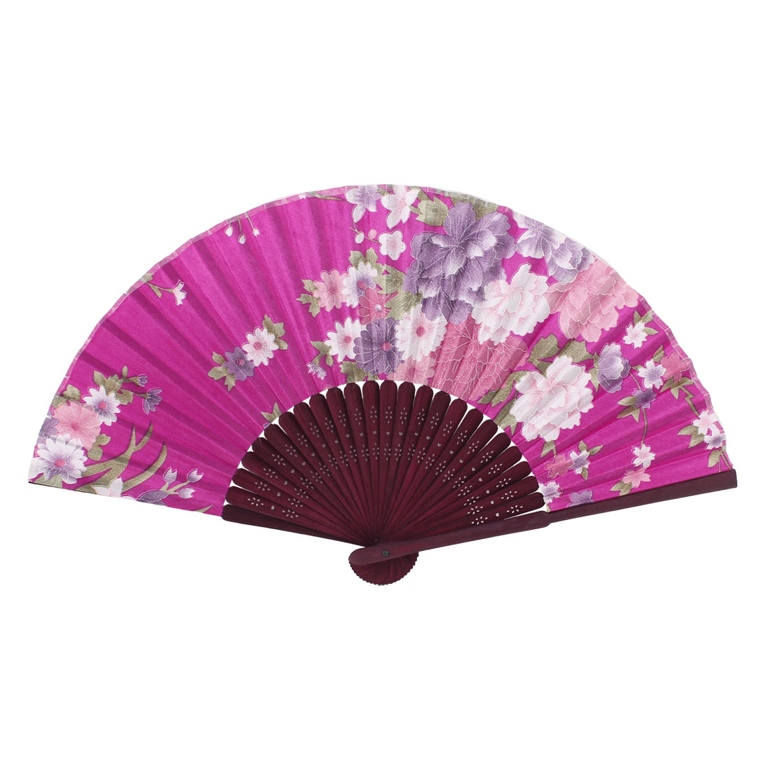 Home Decor Hollow Out Frame Floral Pattern Portable Hand Fan Fuchsia Brown