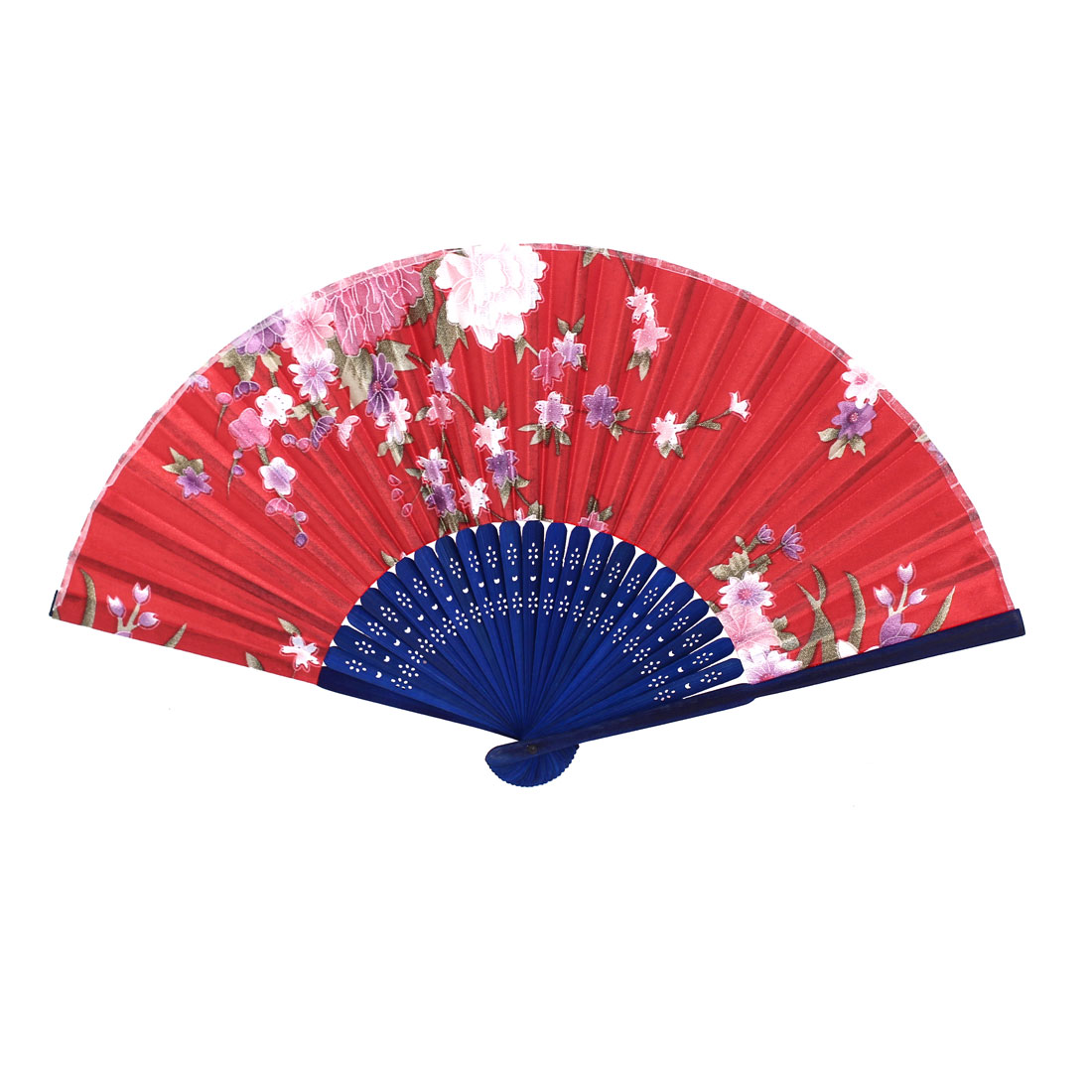 Women Bamboo Hollow Out Frame Wedding Party Gift Foldable Hand Fan Red