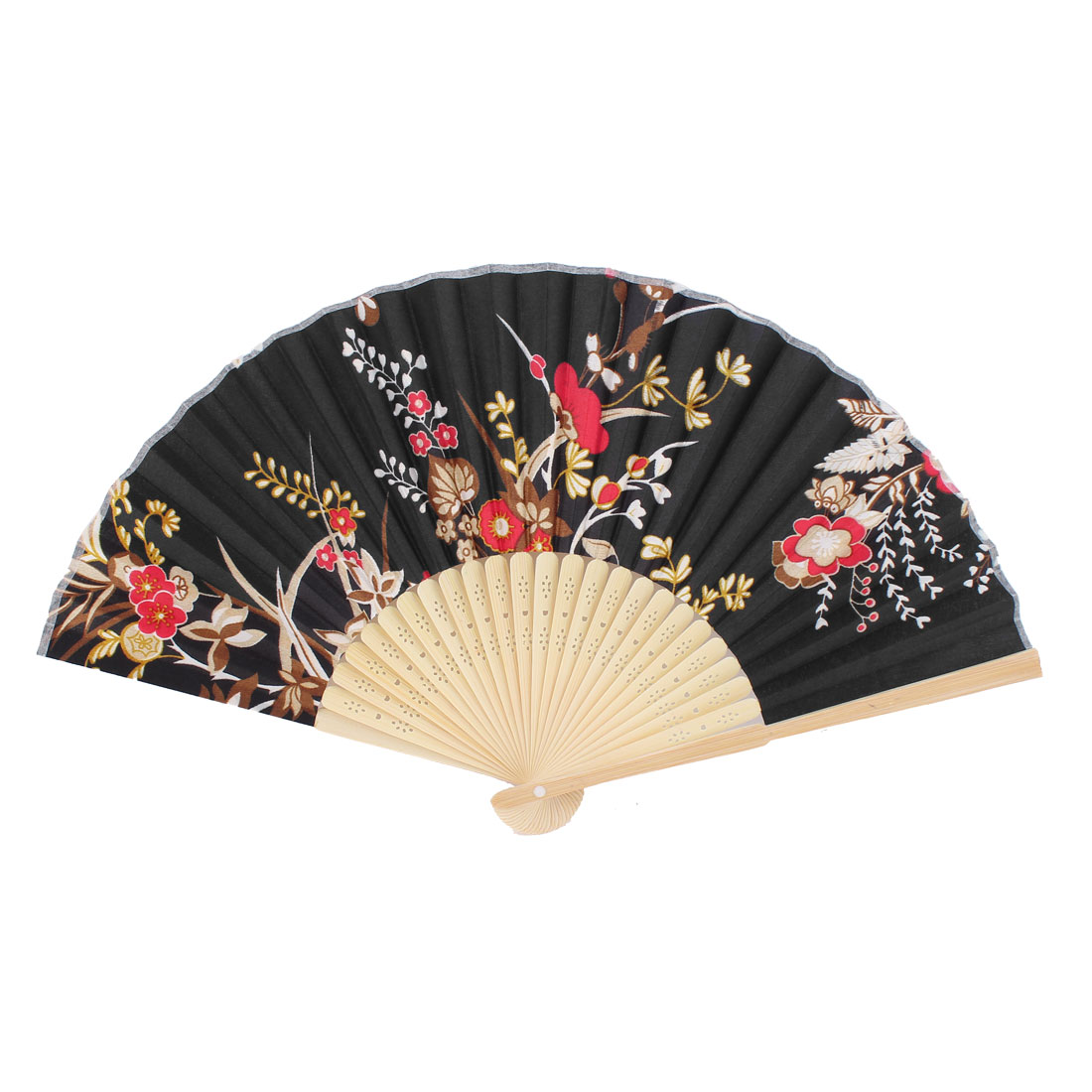 Houseware Hollow Out Ribs Red Floral Pattern Folding Hand Fan Black
