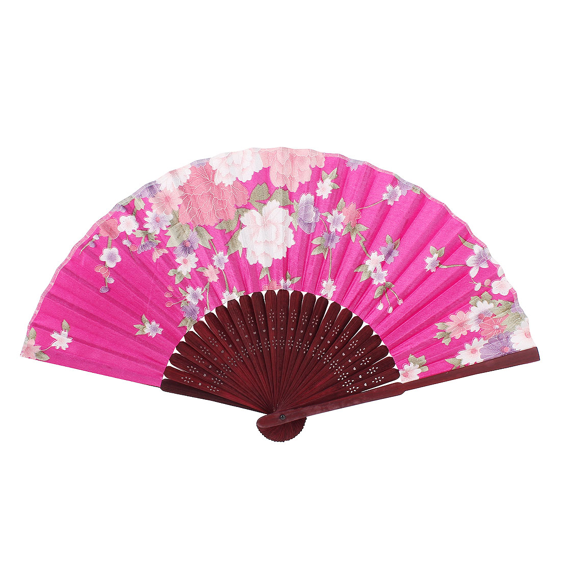 Ladies Women Hollow Out Bamboo Frame Dance Summer Handheld Hand Fan Fushcia