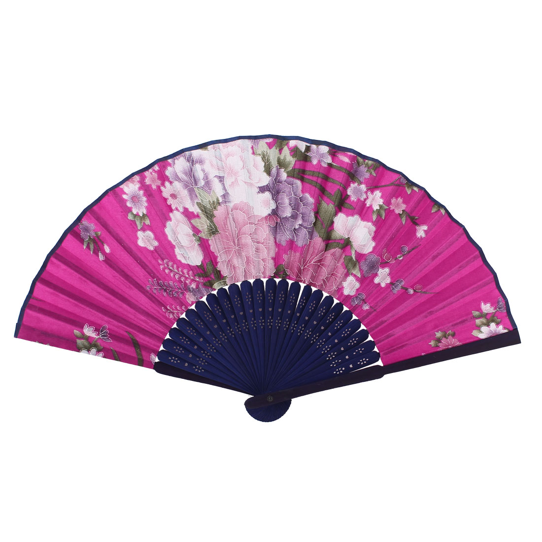Home Decor Hollow Out Frame Flowers Pattern Portable Hand Fan Fuchsia