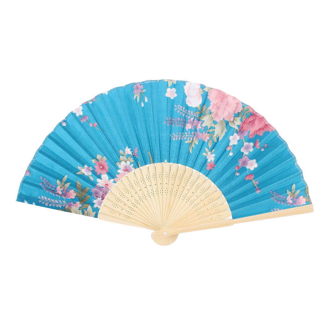 Lady Wood Color Hollow Out Bamboo Ribs Blue Flower Print Foldable Hand Fan