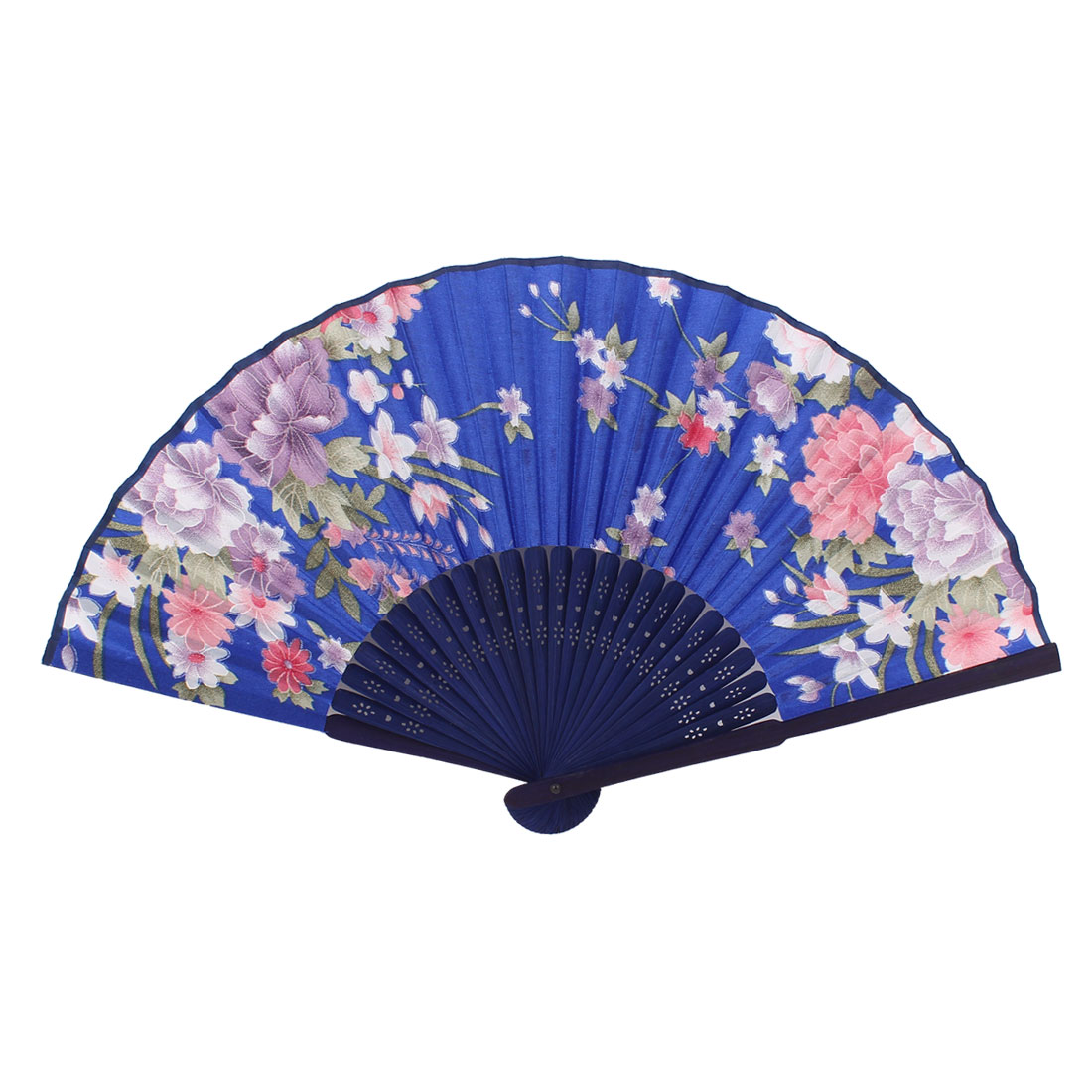 Home Bamboo Hollow Out Handle Mini Flower Print Handheld Hand Fan Dark Blue